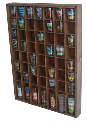 Rustic Wood Shot Glasses Display Case 56 Compartments Wall Mount