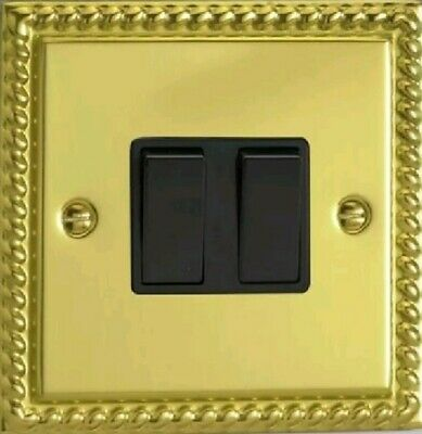 GEORGIAN POLISHED BRASS ROPE EDGE 2 GANG 2 WAY DOUBLE WALL LIGHT SWITCH
