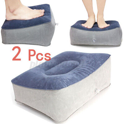 2x Inflatable Train Flight Travel Foot Rest Pillow Cushion Footrest Portable USA