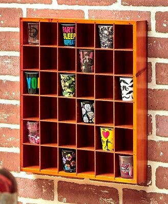 36 Shot Glass Display Shelf Case Rack Wall Shelves Shadow Box Wood Holder WALNUT