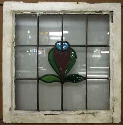 "OLD ENGLISH LEADED STAINED GLASS WINDOW Pretty Floral Design 20.5"" x 21"""