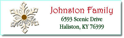 400 CHRIISTMAS SNOWFLAKE -LASER Return Address Labels -Small -1/2 x 1.75 Inch