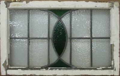 "OLD ENGLISH LEADED STAINED GLASS WINDOW TRANSOM Green, Abstract 29"" x 18.25"""