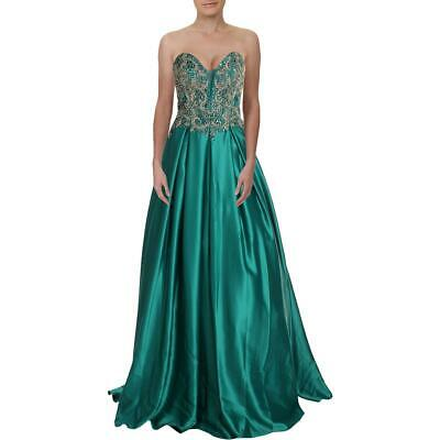 Terani Couture Green Embellished Illusion Prom Formal Dress Gown 0 BHFO 5510