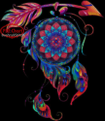 DMC Huge Colorful Horses Love Cross Stitch Embroidery Pattern Chart PDF Count