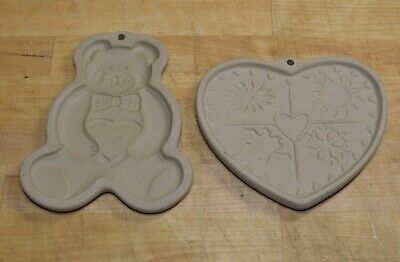 Pampered Chef Heart Cookie Mold Anniversary Heart 2000 Stoneware Family Heritage Clay Art Paper Mold