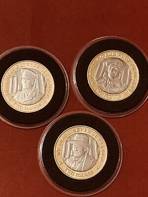 Isle Of Man Leader UNC 3x £2 Pounds 2019 D-Day Montgomery Churchill George II #4