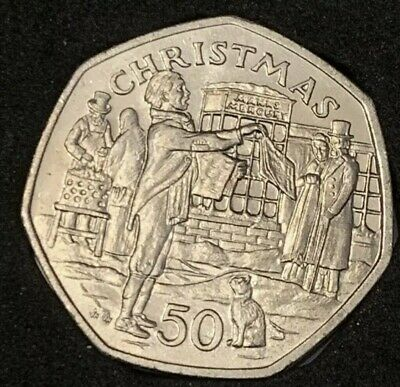 1992 Isle of Man 50p Pence Christmas Coin UNC NEWSPAPER SELLER In Capsule  #3