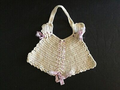 Vintage Hand Crocheted White Infant Baby Bib