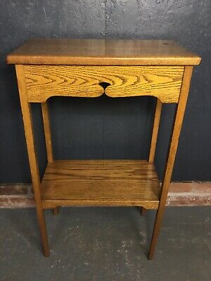 Vintage Oak Arts And Crafts Style Torchere Jardinere Plant Stand Lamp Table