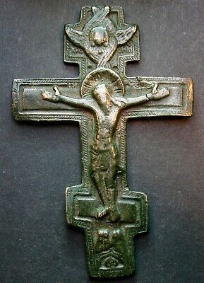 ANCIENT BRONZE CROSS RARE. RELIGIOUS ARTIFACT 17 - 18 CENTURY. 86 mm. (S.163)