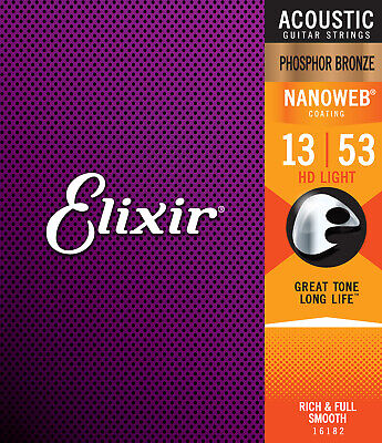 Elixir Strings 16182 Nanoweb Phosphor Bronze Acoustic Guitar Strings (.013-.053)