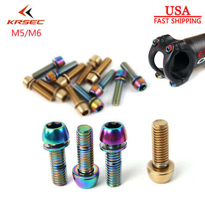6pcs//Box Stem Screws Titanium-plated M5//M6 18mm Length MTB Road Bike Bar Stem UK
