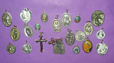 21 Christian Catholic Religious Jesus Mary Saints Cross Medals Charms Lot! #57