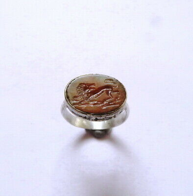 Roman type Intaglio Agate Lion Signet Silver Ring