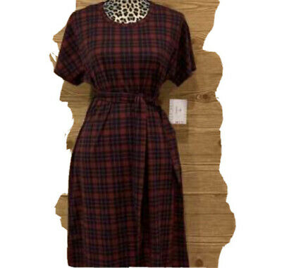 NWT Lularoe Marly dress discontinued style red plaid self belt moderate stretch
