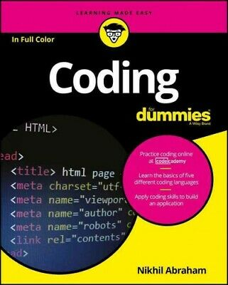 Coding for Dummies, Paperback by Abraham, Nikhil, Brand New, Free shipping