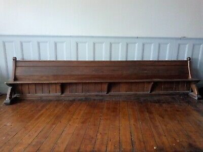 An original long 14ft Victorian Pitch Pine Church Pew Bench-Antique and Unique