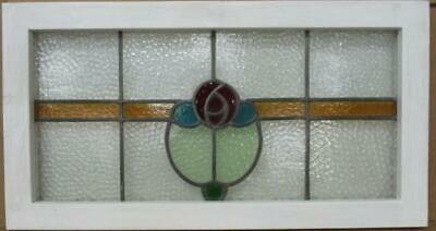 "OLD ENGLISH LEADED STAINED GLASS WINDOW TRANSOM Pretty Rose 27.25"" x 14.5"""