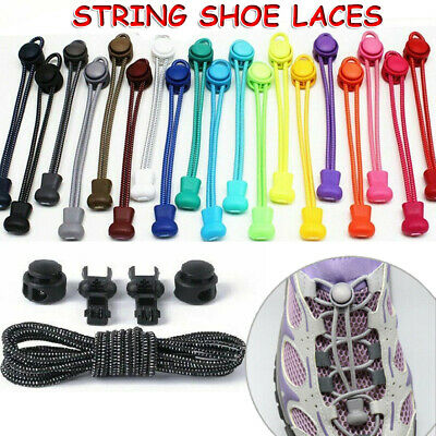 No Tie Elastic Lace System Easy Lock Shoe Laces Shoelaces Runners Adult Kids UK