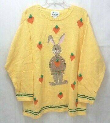 Vintage Easter Bunny Carrot Sweater Hong Kong Large The Quacker Factory