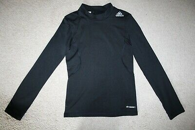 Boys Black Adidas Techfit Climawarm Base Layer Long Sleeve Top Skin Age 11-12