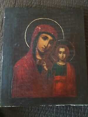 """ANTIQUE RUSSIAN ORTHODOX ICON OUR LADY OF KAZAN MOTHER OF GOD- 10""""X12"""" c1900"""