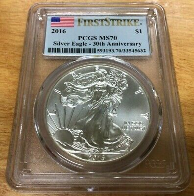 2016 $1 AMERICAN SILVER EAGLE PCGS MS70 FLAG FIRST STRIKE LABEL 30th ANNIVERSARY