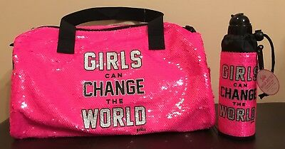 Justice Girls Change Duffle Bag & Water Bottle Sequins Duffel New Fast USPS Ship