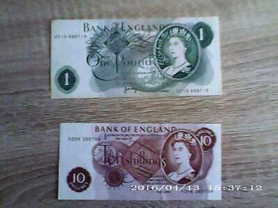 Old £1 note and 10 shilling note Uk
