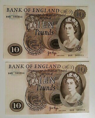 PAGE 1970s £10 BANKNOTE x2 Consecutive Numbers Early Release B66