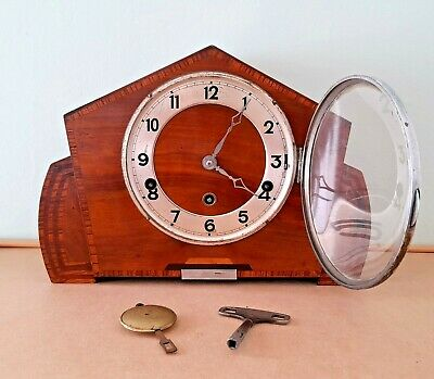 Hermle Art Deco Inlaid Mantel Clock with Westminster Chimes, Key and Pendulum