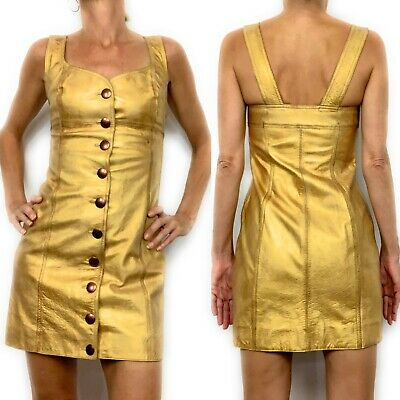 Free People Cow Leather Goldie Mini Dress Size 0 Gold Sleeveless Button Front