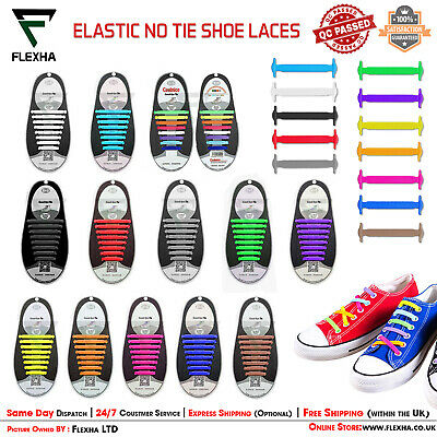 Elastic No Tie Shoe Laces Silicone Easy Shoelaces Trainers Shoes Adult Kids UK ✅