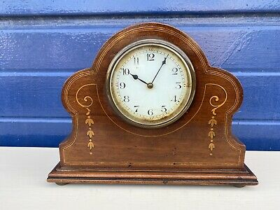Antique Mantle Clock, Enamel Face, Inlaid Case, French Movement, Working Order