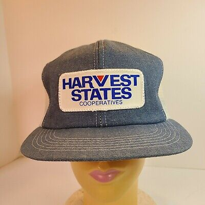 Vintage K Products Denim Harvest States Snapback Farmer Trucker Snapback Hat