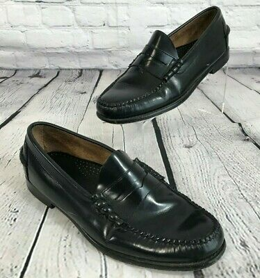 LL BEAN Leather Penny Loafers BLACK Shoes Men's Size 10 EE (WIDE)