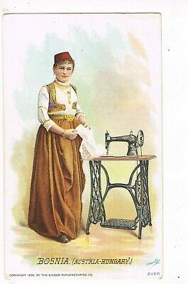 Chinese Family Photo Singer Sewing Machine 115-1 Advertising Trade Card