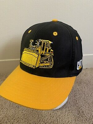 VTG 90's CAT Caterpillar Bulldozer Hat Snapback Trucker