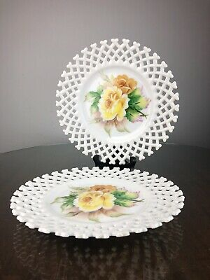 Lefton Milk Glass Hand Painted Plates 8 inch 6350 FR