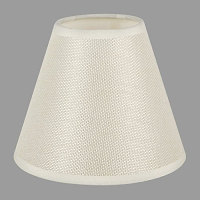 Urbanest 100% Linen Chandelier Lamp Shades, 6 inch, Hardback Clip On, White(Set of 2)