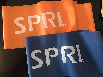 Lot Of 2 Spri Exercise Workout Resistance Bands Orange & Blue