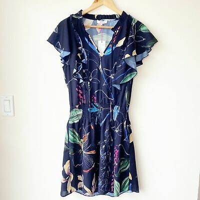 Parker Floral Flutter Sleeve Mini Dress Medium NWT