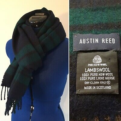 Austin Reed Scarf 100 Lambs Wool Green Blue Tartan 12 00 Picclick Uk