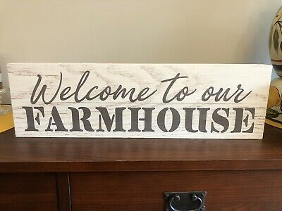 """PENN STATE Large Rustic Wood Sign 41/"""" long Distressed White Farmhouse Style PSU"""