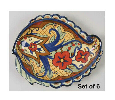 """Capriware Bamboo Palm 9"""" Diameter Salad Plate Hand Painted"""