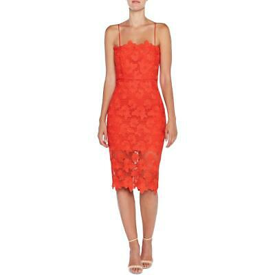 Bardot Womens Eve Red Floral Lace Asymmetric Cocktail Party Dress 6 S BHFO 5654