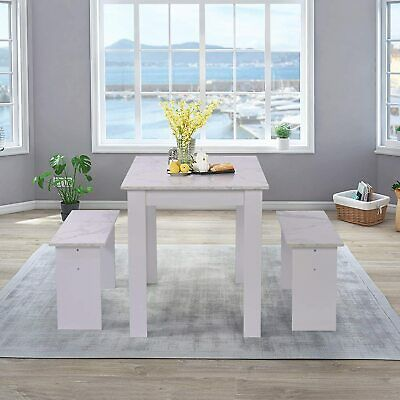 2 Bench Chairs Set MDF Home Kitchen Dining Room Furniture New UK Dining Table