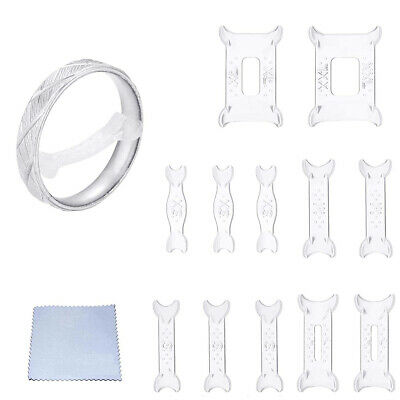 10Pc Invisible Ring Size Reducer Resizer Adjuster Clips Guard SNUGGIES Snugs Set