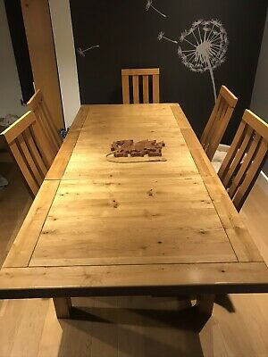 Solid Oak Dining Table And 8 Chairs 450 00 Picclick Uk